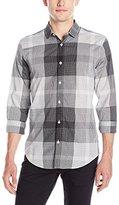Calvin Klein Men's Long Sleeve Voile Plaid Button Down Shirt