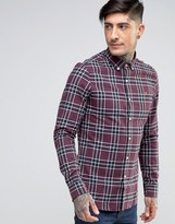 Farah Shirt In Plaid Cotton Slim Fit Red