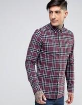 Farah Shirt In Tartan Cotton Slim Fit Red