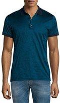 Versace Tonal-Pattern Jacquard Short-Sleeve Polo Shirt, Teal