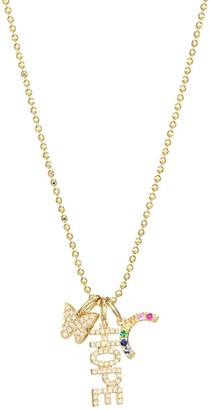 Ef Collection Diamond & 14K Yellow Gold Hope Charm Pendant Necklace