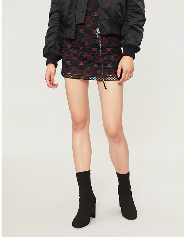 Pinko Lavagna geometric-pattern woven mini skirt