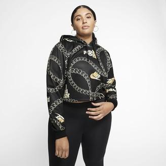 Nike Women's Printed Crop Hoodie (Plus Size Sportswear Icon Clash