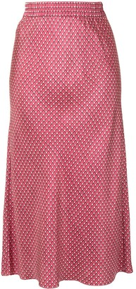 Theory Straight Fit Printed Silk Skirt