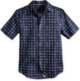 Sean John Men's Grid-Print Linen Shirt, Only at Macy's