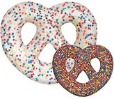 "iscream Snack Shack Chocolate Pretzel Shape Double-Color 20"" x 17"" Photoreal Microbead Pillow"