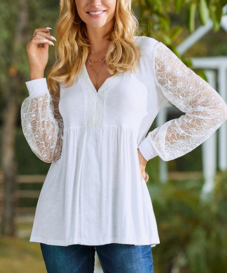 Suzanne Betro Women's Tunics 101WHITE - White Embroidered Lace-Sleeve V-Neck Empire-Waist Top - Women & Plus