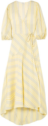 Ganni Striped Silk Midi Wrap Dress