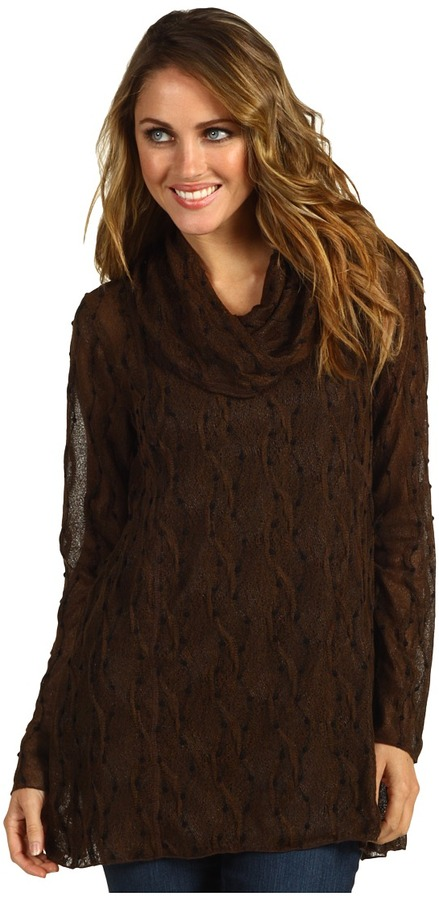 Miraclebody Jeans Knotted Texture Knit Cowl Neck Tunic w/ Body-Shaping Inner Shell (Espresso) - Apparel