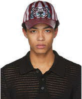 Kenzo Burgundy Striped Canvas and Leather Tiger Cap
