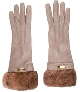 Burberry Leather Fur-Trimmed Gloves