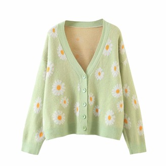 N /C Women's Long Sleeve Cardigans Sweater Open Front Cardigan Daisy Floral Button Loose Outerwear (Light Green One Size )