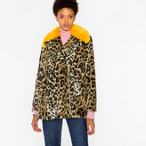 Paul Smith Women's Faux-Fur 'Leopard' Print Coat With Yellow Collar
