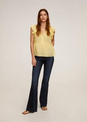 MANGO Ruffled sleeve blouse yellow - 4 - Women