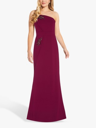 Adrianna Papell Bead Crepe Maxi Gown, Burgundy Glow