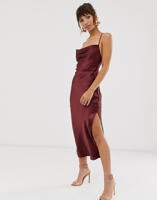 Asos Design DESIGN cami midi slip dress in high shine satin with lace up back-Purple
