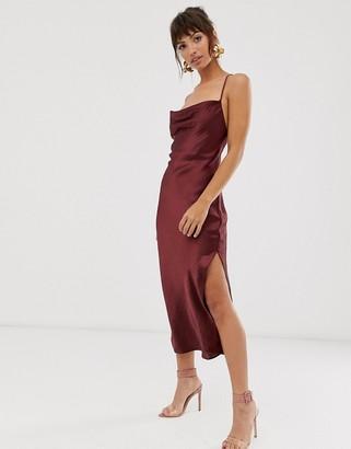 Asos Design DESIGN cami midi slip dress in high shine satin with lace up back