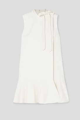 Valentino Bow-detailed Ruffled Wool-blend Crepe Mini Dress - Ivory