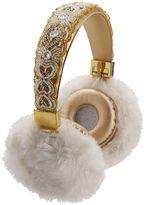 Bluetooth Beaded Fur Headphones, Gold
