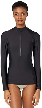 J.Crew Solid Long Sleeve Rashguard (Black) Women's Swimwear