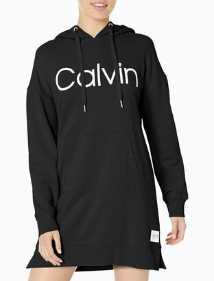 Calvin Klein Performance Logo Hooded Sweatshirt Dress