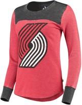 G Iii Women's G-III Sports by Carl Banks Red/Black Portland Trail Blazers Blindside Long Sleeve Thermal T-Shirt