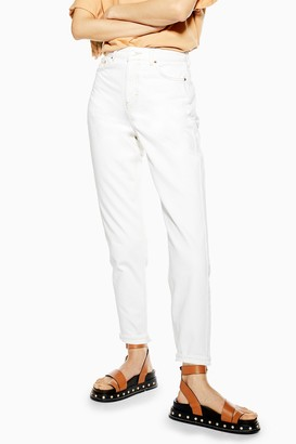 Topshop Womens White Mom Tapered Jeans - White