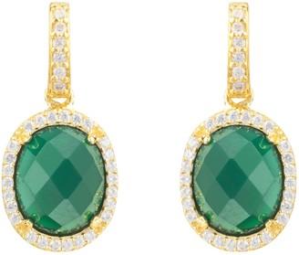 Latelita Beatrice Oval Gemstone Drop Earrings Gold Green Onyx