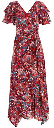 Tanya Taylor Clementine Tiered Ruffle Print Silk Maxi Dress