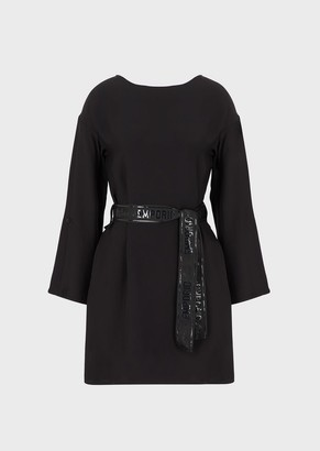 Emporio Armani Cady Dress With Logo Sash