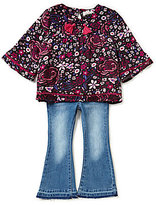 Jessica Simpson Little Girls 2T-6X Patterned Top & Flare Jeans Set