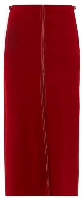 Gabriela Hearst Morelos Topstitched Suede Pencil Skirt - Womens - Dark Red