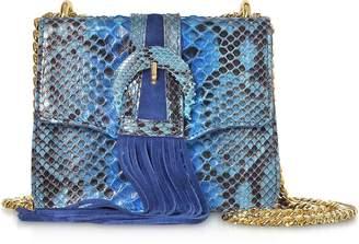 Ghibli Deep Blue Python leather Small Shoulder Bag w/Buckle