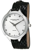 Stuhrling Original Women's Quartz Watch with White Dial Analogue Display and Black Leather Strap 624.01