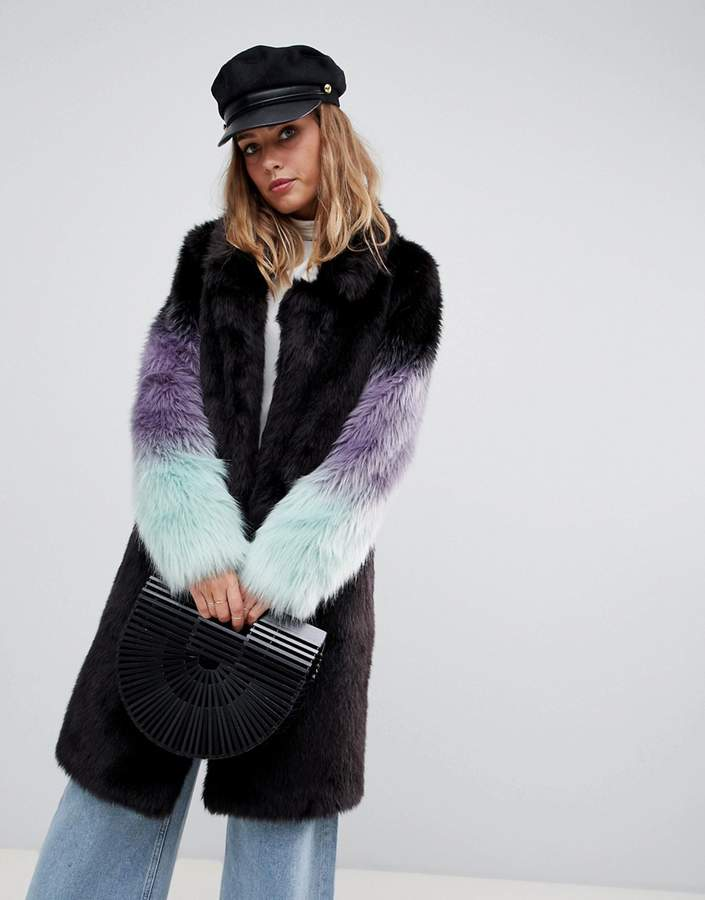 Urban Code Urbancode longline coat with ombre faux fur sleeves