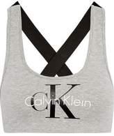 Calvin Klein Underwear Glittered Racer-Back Cotton-Blend Bra