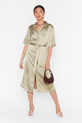 Nasty Gal Womens Sage Satin Midi Dress with Button-Down Closure