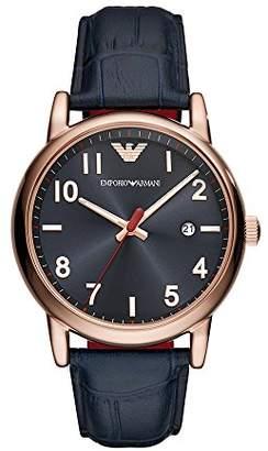 Emporio Armani Men's Stainless Steel Quartz Watch with Leather Calfskin Strap