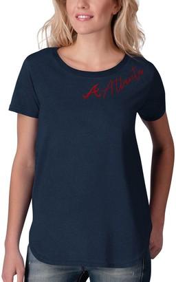 Women's Touch Navy Atlanta Braves Starting Lineup Tri-Blend Scoop Neck T-Shirt
