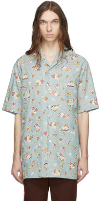 Gucci Blue Chambray Print Oversized Shirt