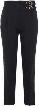 Sandro Danna Cropped Buckle-detailed Crepe Slim-leg Pants