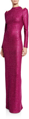 St. John Luxe Sequin High-Neck Long-Sleeve Gown with Shoulder Cutouts