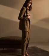 Reiss Brea - Pleat Front Tailored Linen Trousers in Khaki