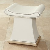 The Well Appointed House Global Views Ivory Grain Cowhide Leather Bench with Hardwood Trim Base