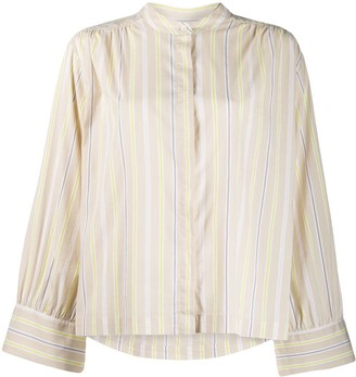 Closed Collarless Striped Shirt