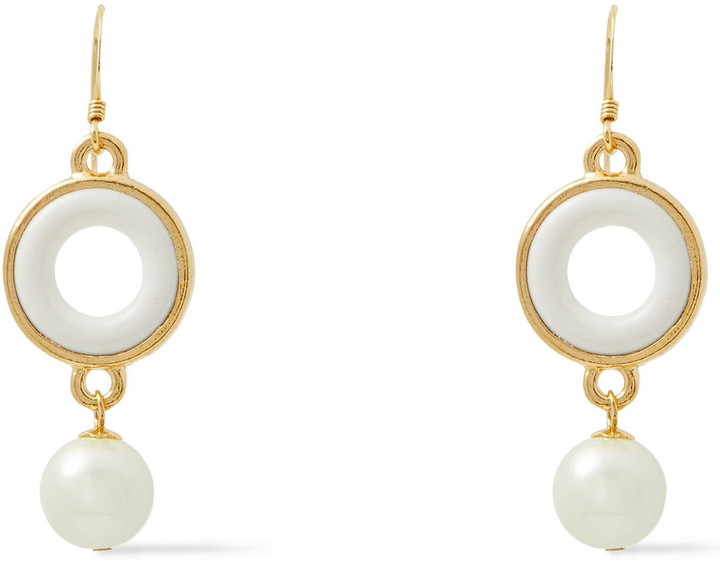 Kenneth Jay Lane 22-karat Gold-plated, Faux Pearl And Resin Earrings