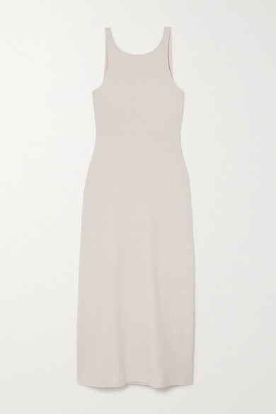 Reformation Bel Ribbed Stretch Organic Cotton And Tencel-blend Midi Dress - Ivory
