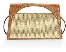Nancy Gonzalez Women's Small Sammy Crocodile & Raffia Top Handle Bag
