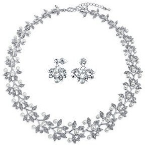 Bling Jewelry Vintage Bridal Leaf Statement Necklace Earrings Imitation Pearl Set