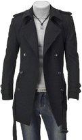 Friendshop Mens Winter Double Breasted Woolen Trench Pea Coat Long Windbreaker Jacket